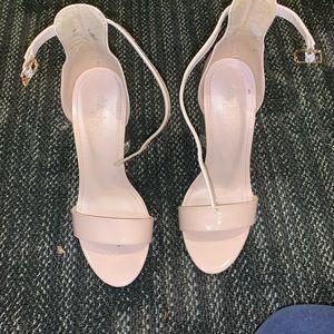 Nude block sandal